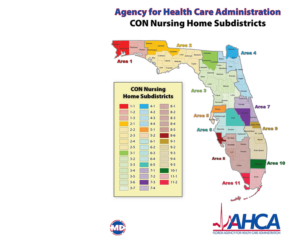 AHCA CON FA Service Areas - Florida map districts