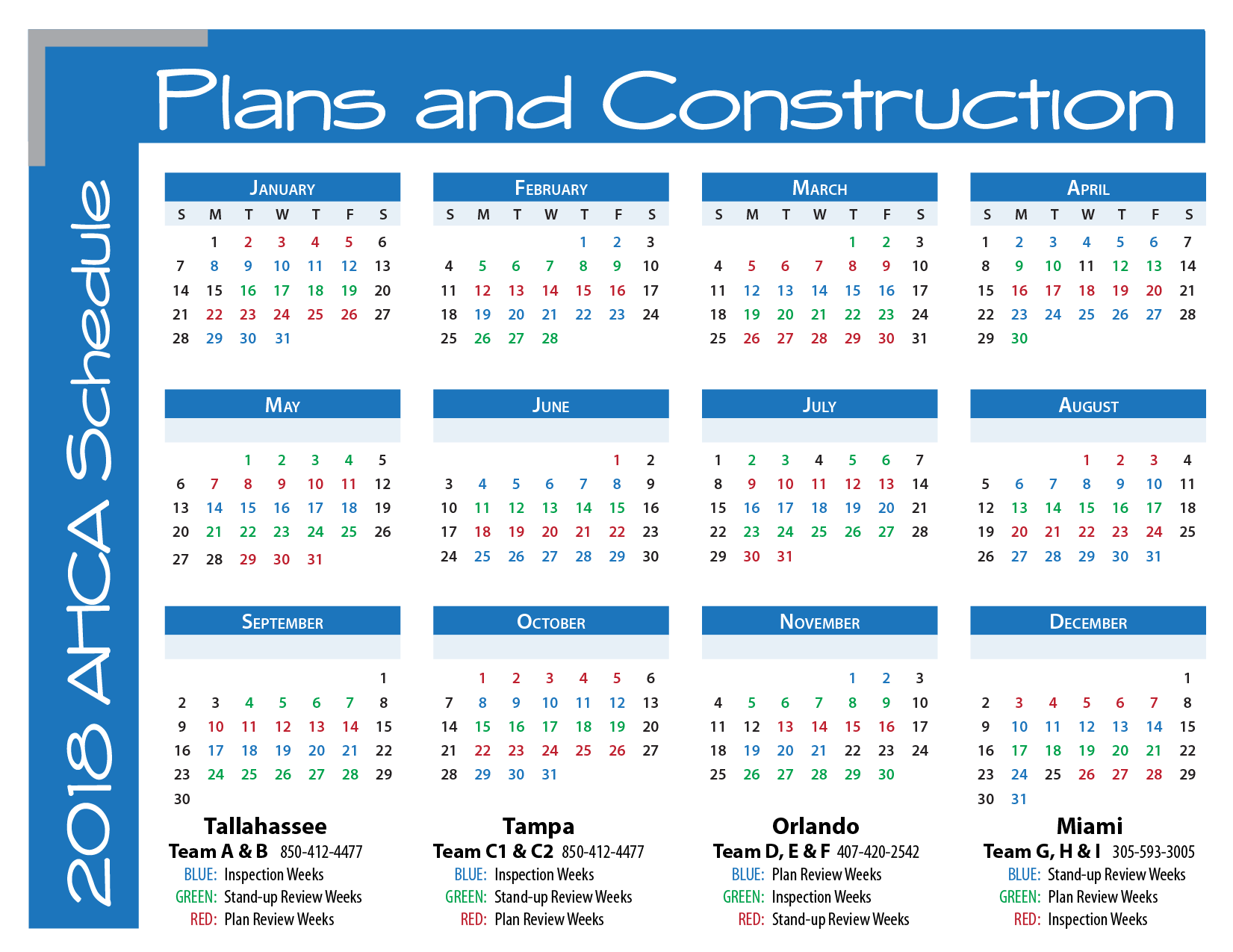 AHCA: Plans and Construction: 2018 Schedule Calendar